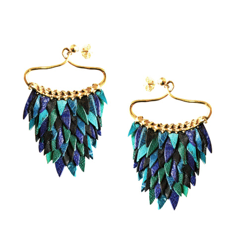 Blue Fish Scales Earring