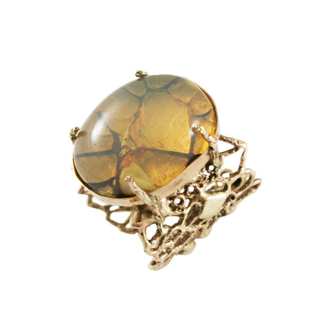 Gold Cell Ring with Fire Opal