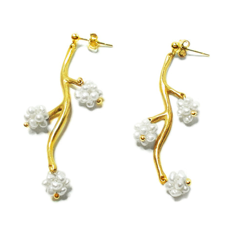 Flower Branch Pearl Earring