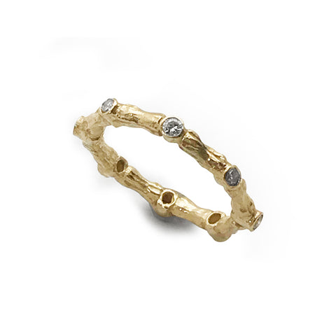 18K Gold Bone Joint Diamond Ring