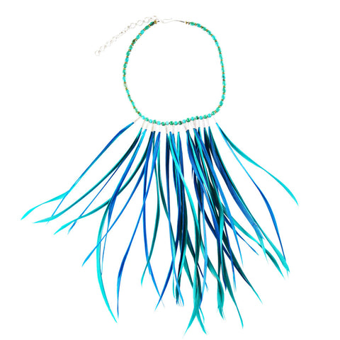 Blue Feather Necklace by Ayaka Nishi