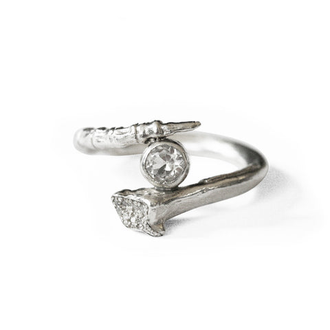 Tapered Bone Ring with Diamond