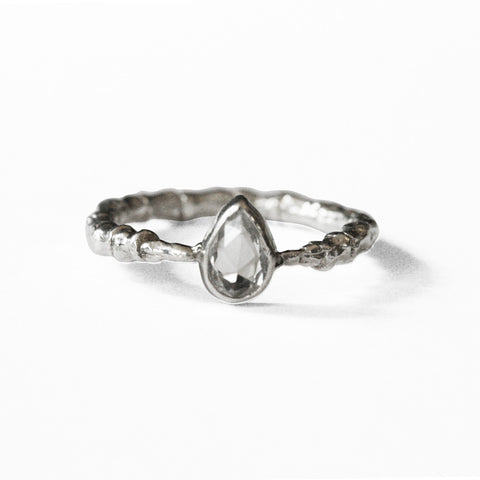Bone Band Tear Drop Ring