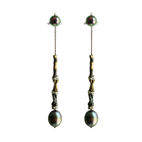 Bone Beads Pearl Earring