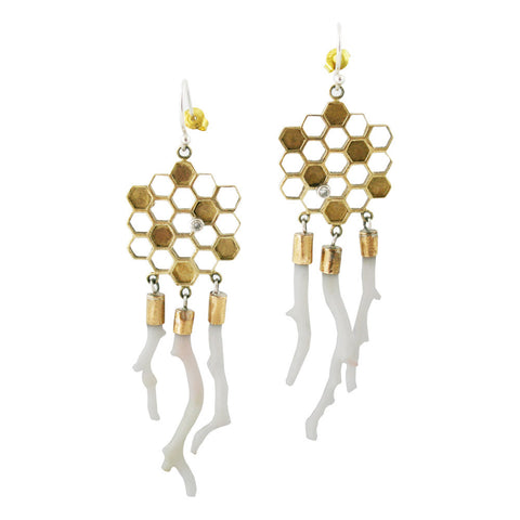 Gold Honeycomb Earring with Coral By Ayaka Nishi