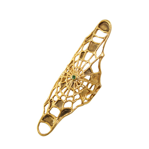 Filled Long Spider Web Ring Gold By Ayaka Nishi