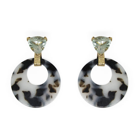 Triangle Green Amethyst Tortoise Shell Earring