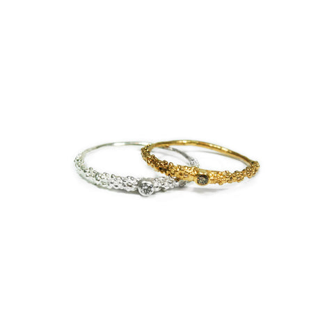 Thin Grain Ring with 3mm Diamonds