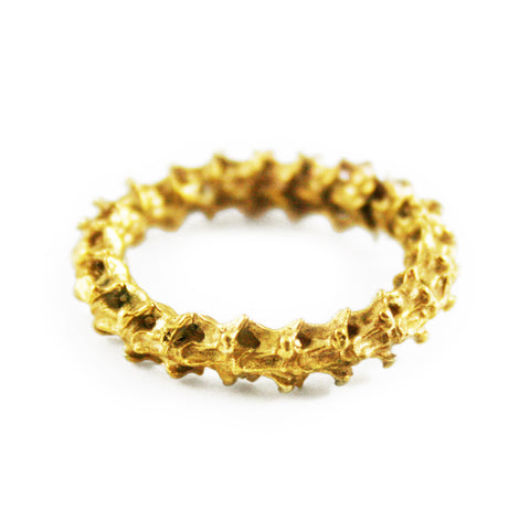 18K Yellow Gold Linked Spine Ring by Ayaka Nishi