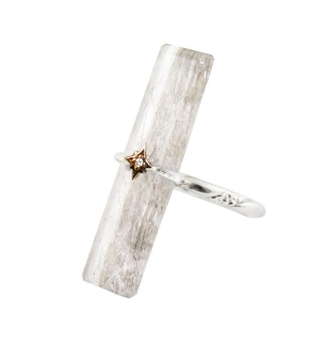 Long Rutilated Quartz Ring by Ayaka Nishi