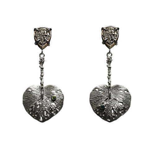 Leaf Pyrite Earrings