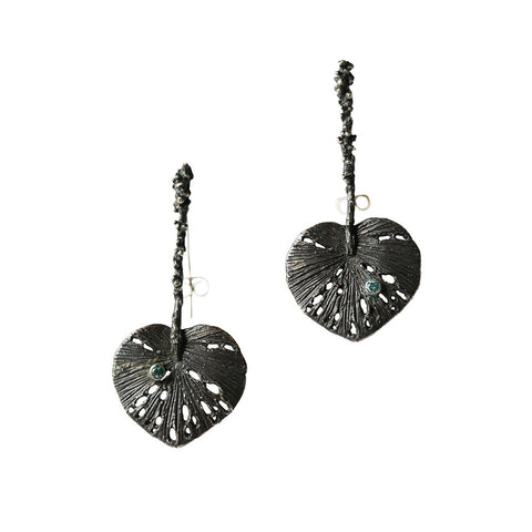 Leaf Earrings with Stem Oxidized Silver by Ayaka Nishi