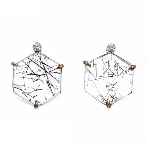 Hexagon Rutilated Quartz Earring