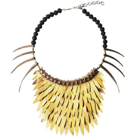 Short Yellow Fish Scale Necklace by Ayaka Nishi
