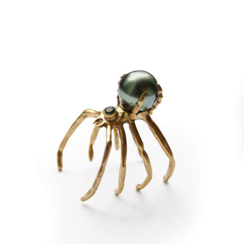 Spider Pearl Ring by Ayaka Nishi