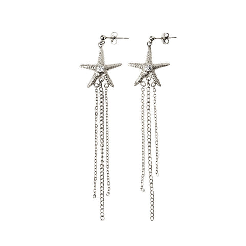 Silver Star Fish Chain Earring