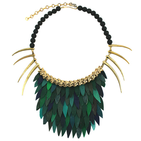 Short Green Fish Scale Necklace by Ayaka Nishi