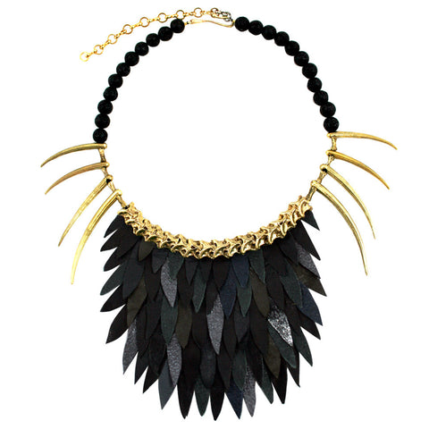 Short Black Fish Scale Necklace by Ayaka Nishi