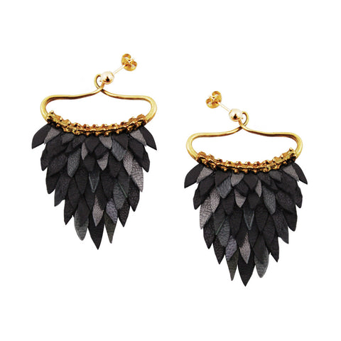 Black Fish Scales Earring