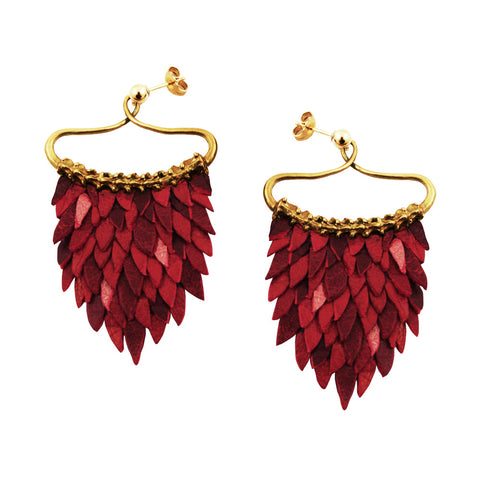 Red Fish Scales Earring