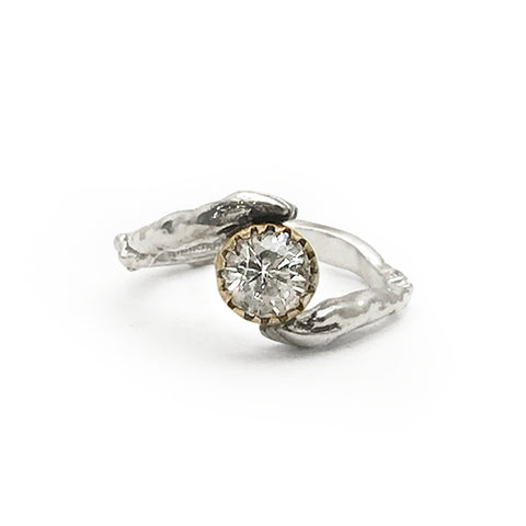 14K Gold Hand Ring with White Sapphire