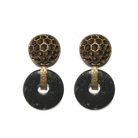 Honeycomb Dome Earring with Stone