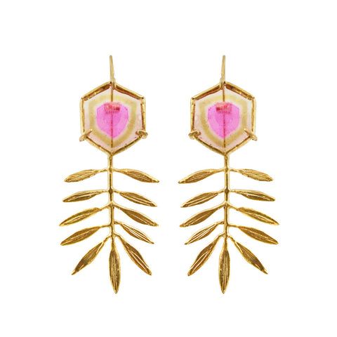 Leaf Earrings with Watermelon Tourmaline