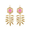 Leaf Earrings with Watermelon Tourmaline by Ayaka Nishi
