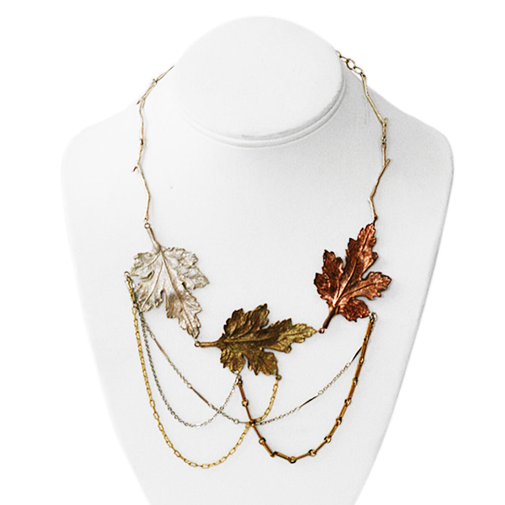 diamante inspired equilibrium vintage picture of leaves flower necklace
