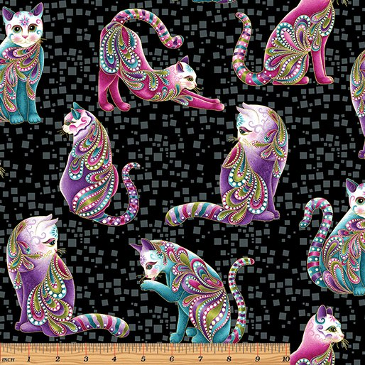 Benartex Black/Multi Cat-i-tude Panel w/Metallic