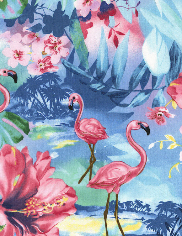 OASIS  Flamingo Tropical OCEAN Timeless Treasures #C5741