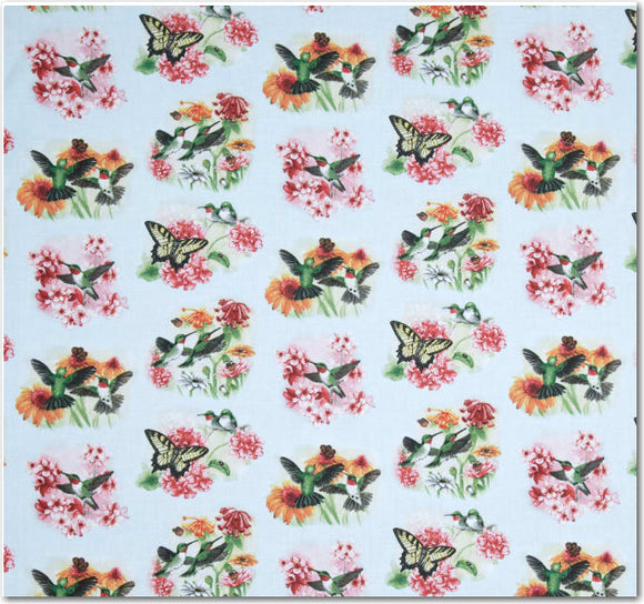 Hummingbirds Allover Sage Fabric