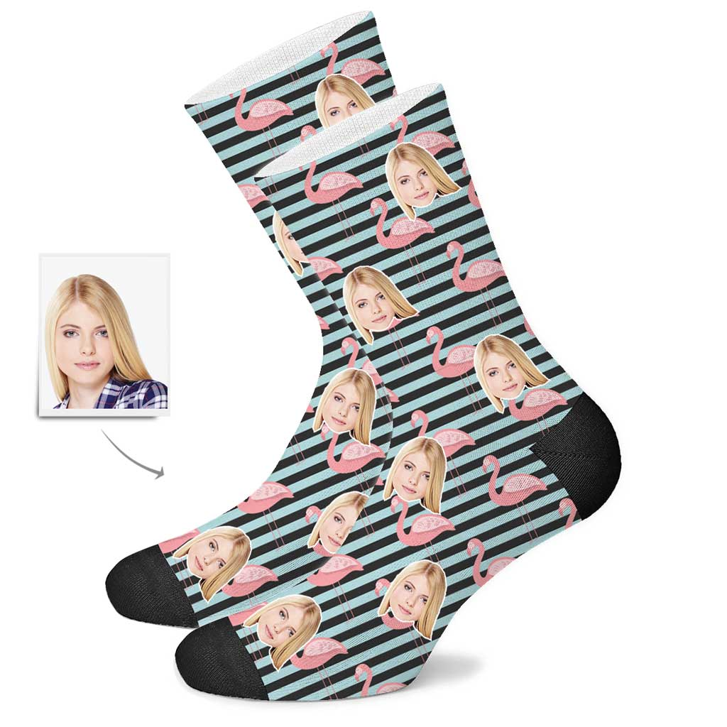 Custom Flamingo Face Socks