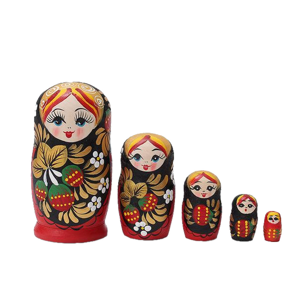 Painted Wooden Matryoshka Dolls 5 Pieces