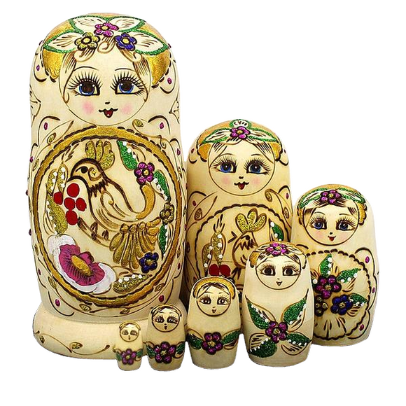 Large Wooden Matryoshka Nesting Dolls 7 Pieces