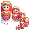 Red and White Russian Matryoshka Nesting Dolls 7 Pieces
