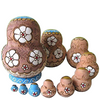 Blue Wooden Matryoshka Nesting Dolls 10 Pieces