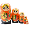 Orange Wooden Matryoshka Nesting Dolls 5 Pieces