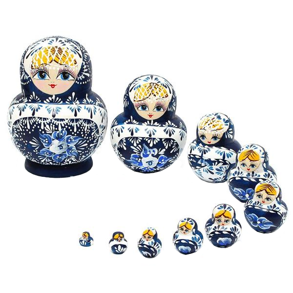 Blue Floral Wooden Matryoshka Nesting Dolls 10 Pieces