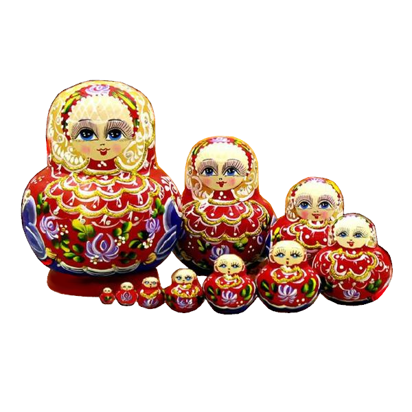 Red Wooden Matryoshka Dolls 10 Pieces