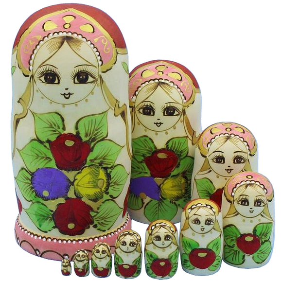 Floral Patterned Matryoshka Nesting Dolls 10 Pieces