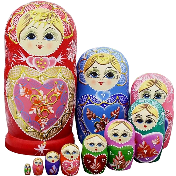 Christmas Wooden Matryoshka Nesting Dolls 10 Pieces