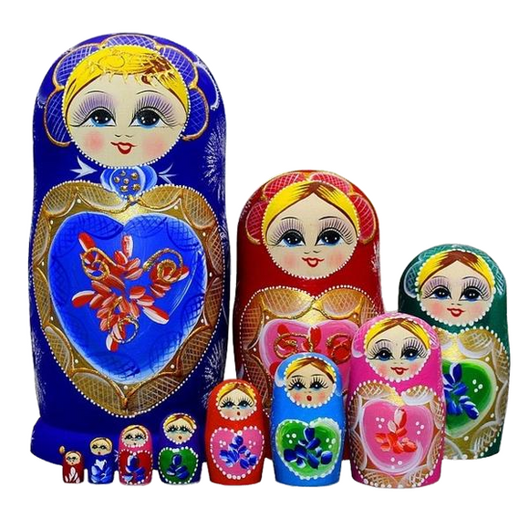 Christmas Matryoshka Nesting Dolls 10 Pieces