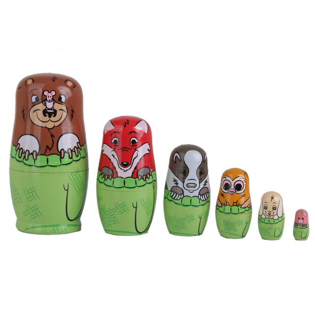 Funny Animals Matryoshka Nesting Dolls 6 Pieces
