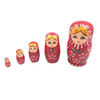 Lady in Red Matryoshka Nesting Dolls 5 Pieces