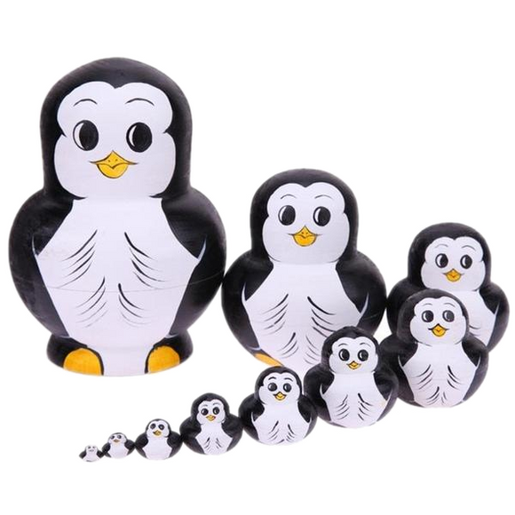 Cute Adorable Penguins Matryoshka Nesting Dolls 10 Pieces