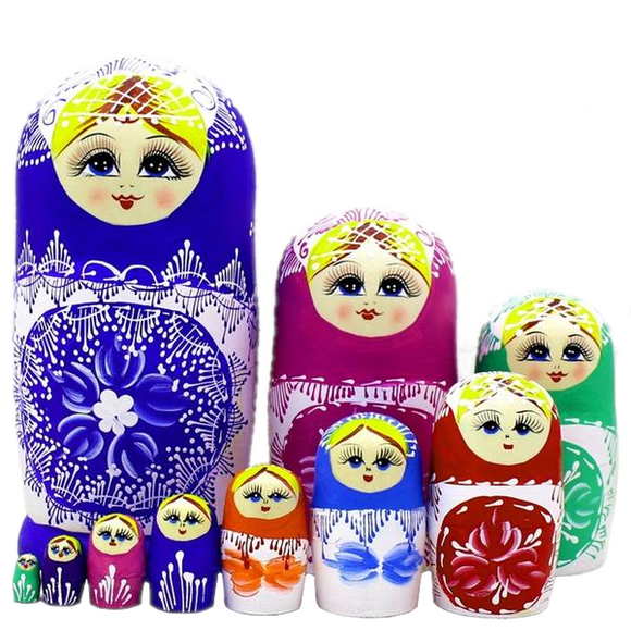 Large Traditional Russian Matryoshka Nesting Dolls 10 Pieces