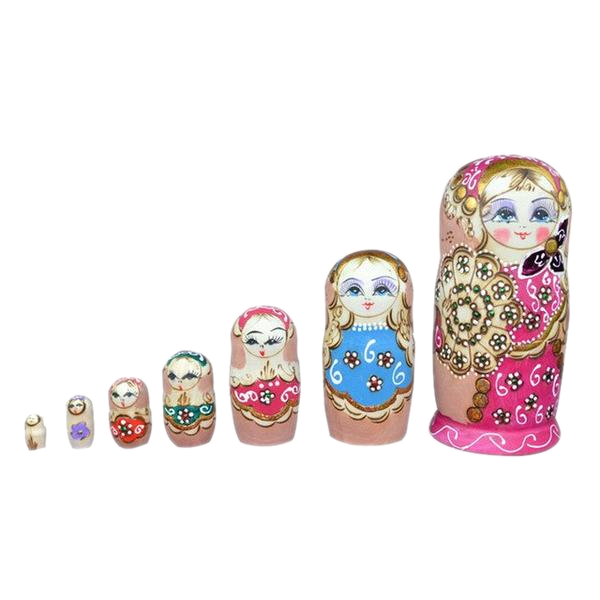 Large Pink Matryoshka Nesting Dolls 7 Pieces