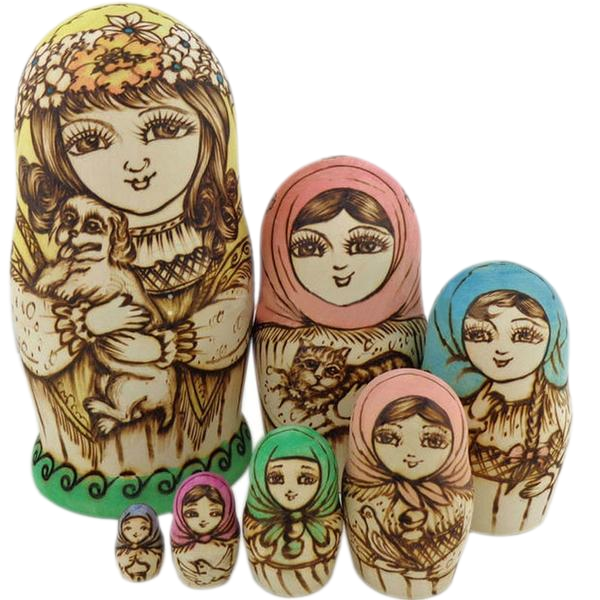 Pet Parent Matryoshka Nesting Dolls 7 Pieces
