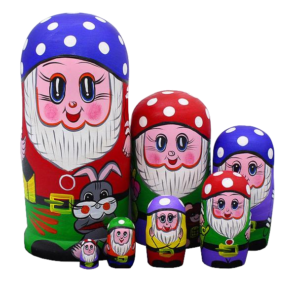 Cheerful Dwarfs Matryoshka Nesting Dolls 7 Pieces
